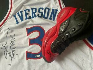 ALLEN IVERSON AUTOGRAPHED PHILADELPHIA 76ERS JERSEY AND QUESTION SHOE