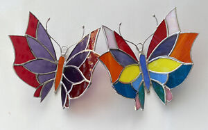"""Set 2 Butterfly 3D -Multicolor-Handmade - Stained Glass - Sun Catcher- 5""""X 6"""" In"""