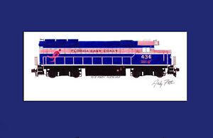 "Florida East Coast GP40-2 Pink Ribbon 11""x17"" Matted Print Andy Fletcher signed"