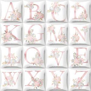 Pink Alphabet Letter Polyester Cushion Cover Pillow Case Waist Throw Sofa Decor