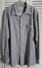 Talbots Mens Italian Moleskin Cotton Shirt SZ XL Grey Long Sleeve Button