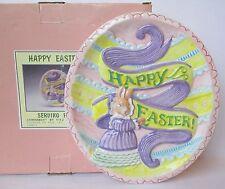 """Vintage Fitz & Floyd 8.5"""" Happy Easter Serving Plate Omnibus Bunny Egg Shape"""