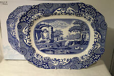 "Spode Blue Italian 21"" Platter Tree & Well Turkey Roast Beef Brand New Large"