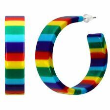 Ohrringe Creolen bunte Streifen Regenbogen Hippie Bonbon Lollipop Retro Plastik
