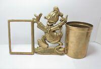 Vtg Donald Duck Brass Desk Accessory Picture Frame Pencil Cup Walt Disney Prod