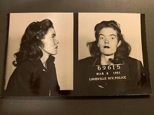 VINTAGE CRIMINAL MUG SHOT YOUNG WOMAN 1951