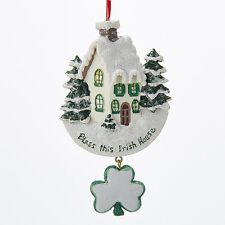 "KURT ADLER RESIN ""BLESS THIS IRISH HOUSE"" CHRISTMAS ORNAMENT w/DANGLE SHAMROCK"