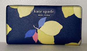 New Kate Spade Cameron Lemon Zest Large Slim Bifold Leather wallet River Blue