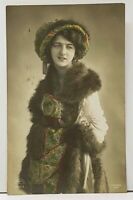 RPPC Victorian Woman Shaftor, Harrogate Pic Darlington to Edinburgh Postcard H16