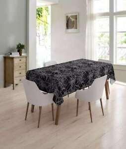 Plain Black with Spiderweb Cobweb Kids Pvc Vinyl Kitchen Table Cloth