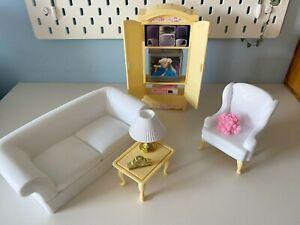 Mint! ❤️ Vintage 1996 Barbie Living Room play set dolls house Accessories sofa
