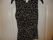 MAX STUDIO womens brown & white sleeveless shirt size Small