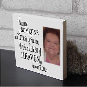 Large Personalised Freestanding wooden Memorial Photo Block Present Gift