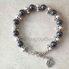 pierres naturelles Bracelet gothique perles hématite et tête de mort