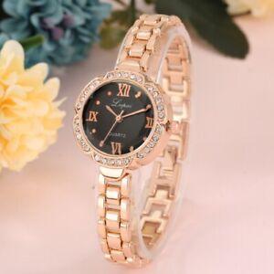 Elegant Women's Bracelet Watch Crystal Case Lady Quartz Wristwatch Steel Strap