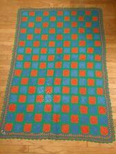 "Handmade Blue Green Orange Crochet Afghan Throw Measures 79"" X 54"""