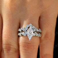 1.50 Ct Marquise Cut Diamond Bridal Engagement Ring Set 14K Real White Gold