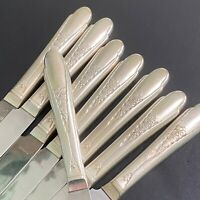 """EIGHT (8) 1941 GARDENIA SILVER PLATE DINNER KNIVES 9 1/8"""" WM ROGERS & SON IS"""