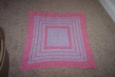 "NEW Born Baby Hand Crochet Pink & Lavender 32"" by 32"" Heir Loom Blanket"