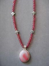 Lovely Pink Peachblow Agate Pendant Necklace in a .925 Siver Setting