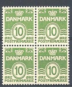 Denmark 1950 Sc# 318 Arms Lion 10ore block 4 MNH