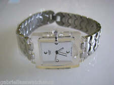 ECAILLES D'ARGENT! Silver Swatch SQUARE with Stainless Steel Fliplock Band-NIB!