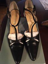 Walter Steiger Stiletto Pumps size 7 Black leather T- strap stilettos