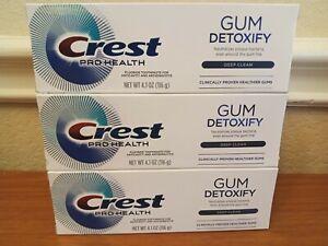 Lot of 3 Crest Pro Health Gum Detoxify Deep Clean Fluoride Toothpaste 4.1oz