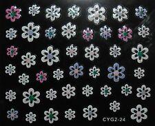 Accessoire ongles,nail art- Stickers autocollants - motifs fleurs multicolores