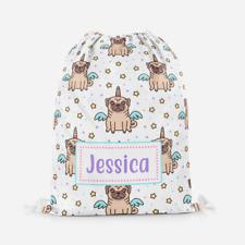 Personalised Unicorn Pug Dog Children's PE Swimming School Kids Drawstring Bag