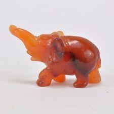 Miniature figurine d'Éléphant en pierre rouge 4 cm