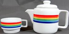 Vtg Rainbow Teapot Cup Mug Coffee Pot Server Ceramic Pottery Mint Pride LGBT