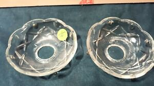 V-14  Vintage Criss Cross CLEAR Glass Bobeche Candle Collar Wax Drip Protector