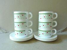 6 tasses à café et leur sous tasse, Arcopal, décor tulipes, vintage années 70-80