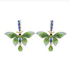 Gorgeous Retro Cloisonne Enamel Butterfly w/Jade Silver S925 Earring Dangle AS84