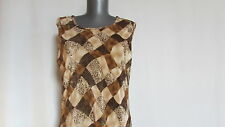 New NWOT Notations diamond pattern brown tan exotic washable tank shell large l