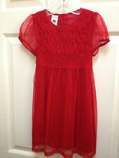 Girl's RED SMOCKED DELICATE Mesh HOLIDAY DRESS April Cornelloki Lined 2 3 4 NEW
