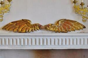 Spectacular Pair Antique Italian Carved Wood Water Gilded Angel's Wings, 18th C