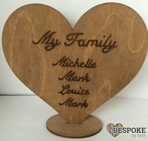Personalised Family Tree Heart Wooden Freestanding Gift Decoration Wedding Mum
