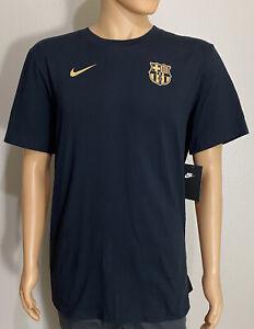 NWT Nike FC Barcelona Lionel Messi Soccer Cotton Black T-Shirt Men's Size Large