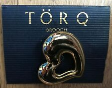 Brooch, in Gold Metal. A TorQ Heart Shape