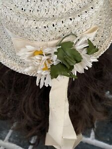 Girls Easter// Sunday Hat new with tags white w pink flower// pink w white flower