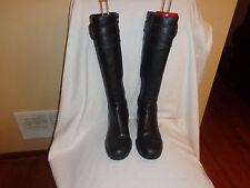Banana Republic Black Leather Knee High Riding Boots Women's 8 M