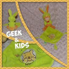 Doudou Tigrou déguisé en lapin vert - Mouchoir Winni l'ourson - Disney Nicotoy -
