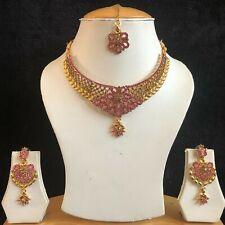 PINK BEIGE GOLD KUNDAN INDIAN JEWELLERY NECKLACE EARRINGS CRYSTAL SET NEW 309