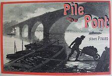 JULES CHERET (1836-1932). Lithographie originale (1890), PILE DE PONT