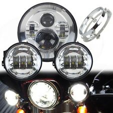 "7 "" Harley Davidson Haupt LED Scheinwerfer+ 2x4.5'' Passing Light+ Mounting Ring"