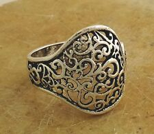 ELEGANT .925 STERLING SILVER FILIGREE SPOON RING size 9  style# r2076
