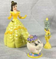 Disney Princess Belle Beauty Beast Movie PVC Figurine Lot Cake Topper Teapot