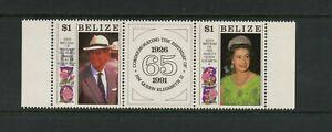 G010 Bélize 1991 QEII Anniversaire Paire & Étiquette MNH